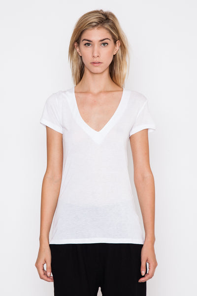 White Home V-Neck Tee