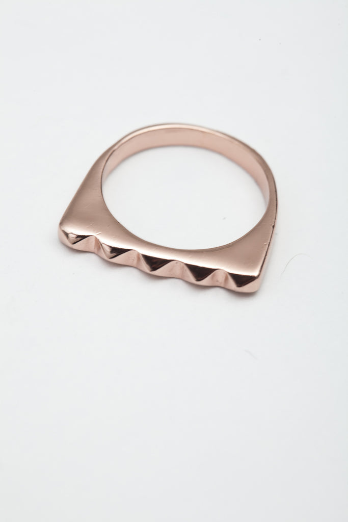 Shiny Rose Gold Studder Stack Ring
