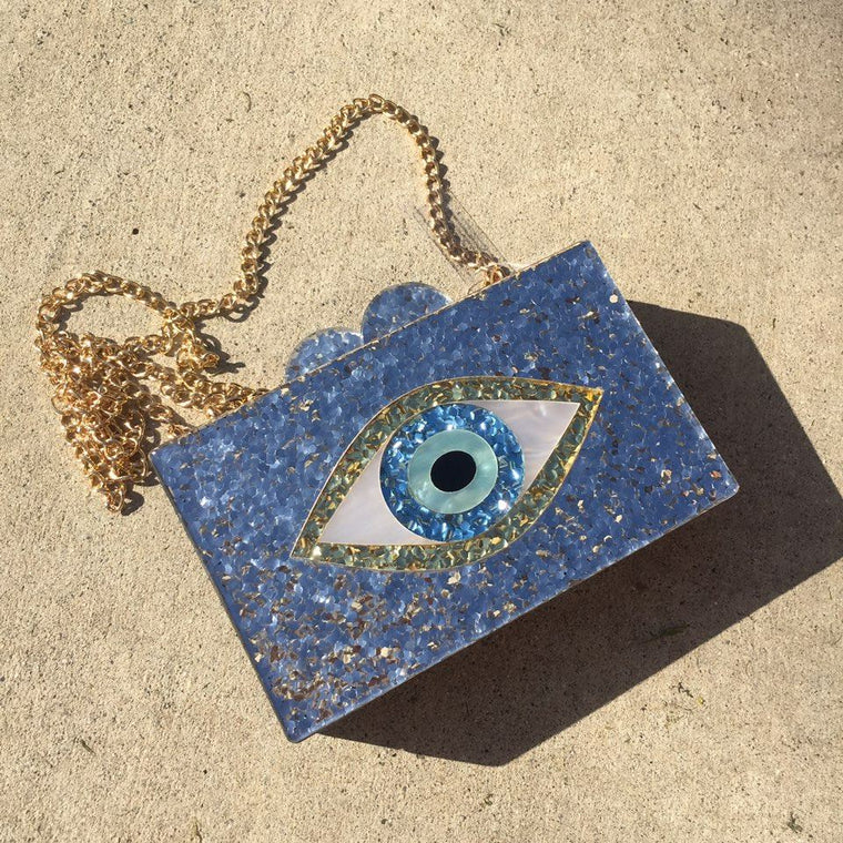 Glitter Evil Eye Hard Case Clutch