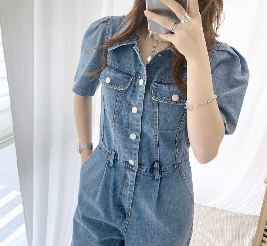 Juliet Denim Puff Jumpsuit