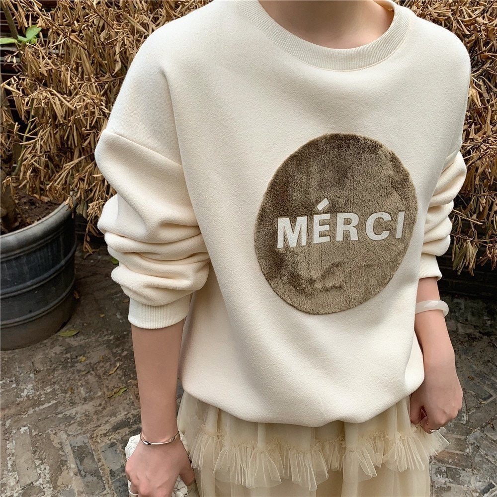 Merci Warm Sweatshirt (2Colors) - Angie&Ash
