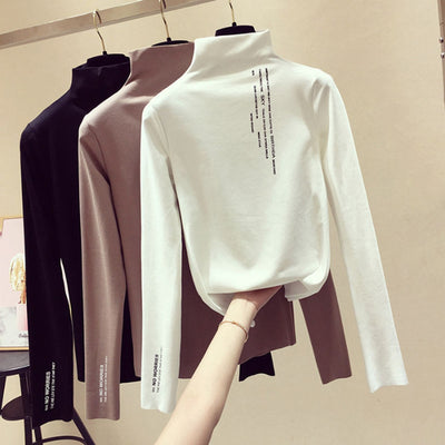 Letter T Shirt Women Long Sleeves