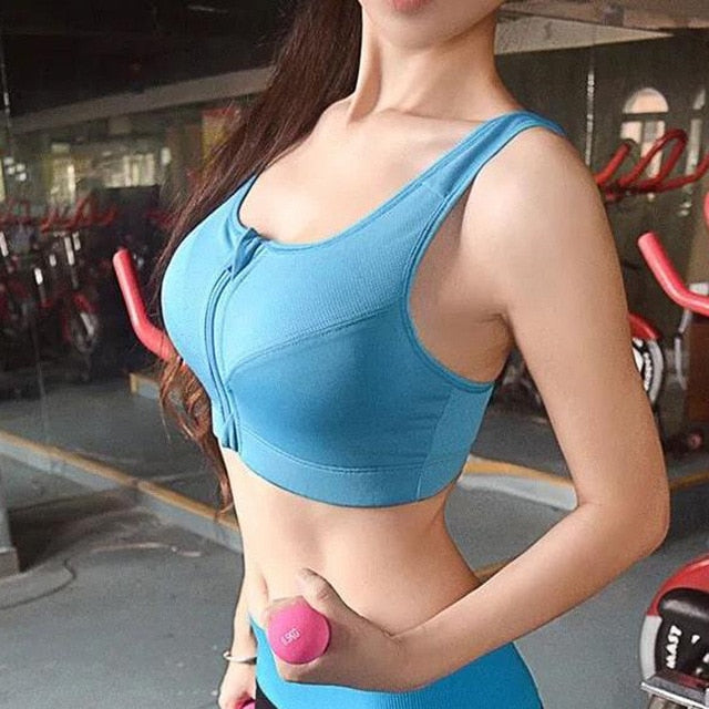 Sports Front Zipper Push up bras