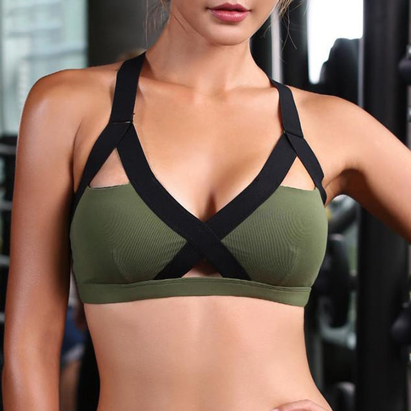 Front Cross Side Lace Sports Bras