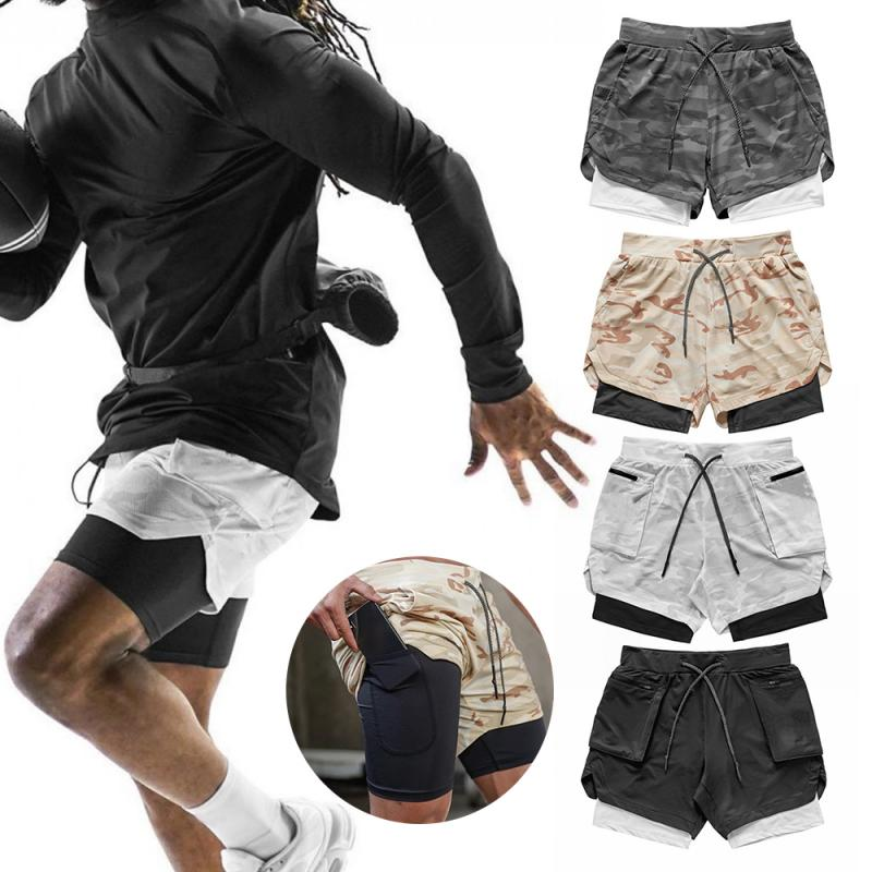 Running Men 2 In 1 Double-deck Shorts