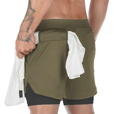 Men  Workout 2 in 1 Running Shorts