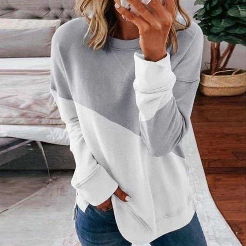 Patchwork T-shirt Women Long Sleeve