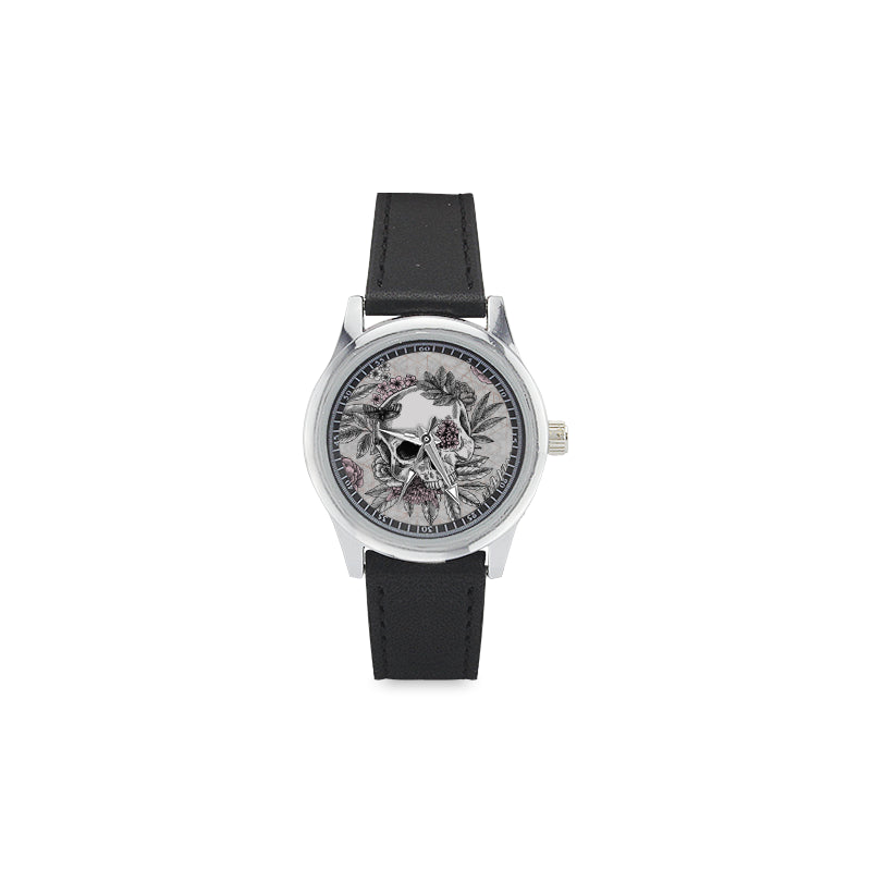 Blushing Skulls Kid's Stainless Steel & Leather Watch