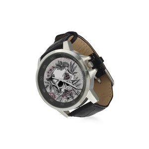 Blushing Skulls Adult's Stainless Steel & Leather Watch