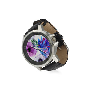 Hearts Adult's Stainless Steel & Leather Watch