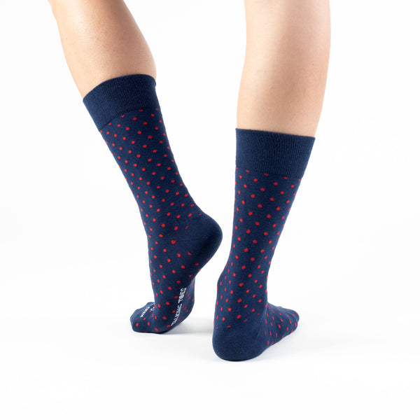 Navy-Red Polkadot Basics - Talking Toes