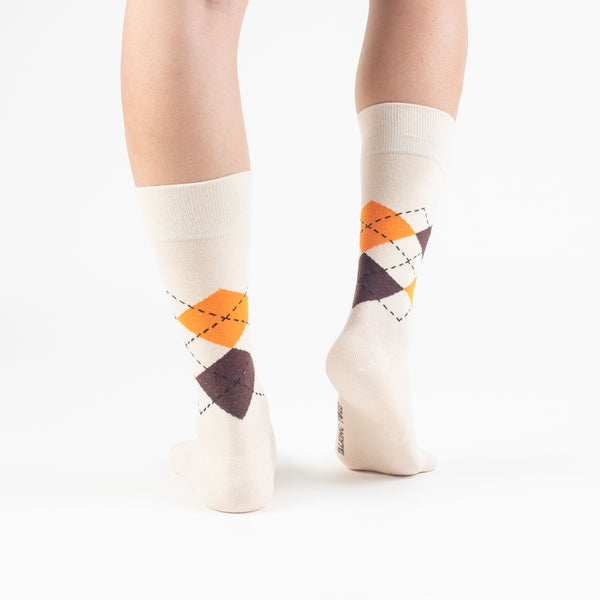 Cream Argyle Basics - Talking Toes