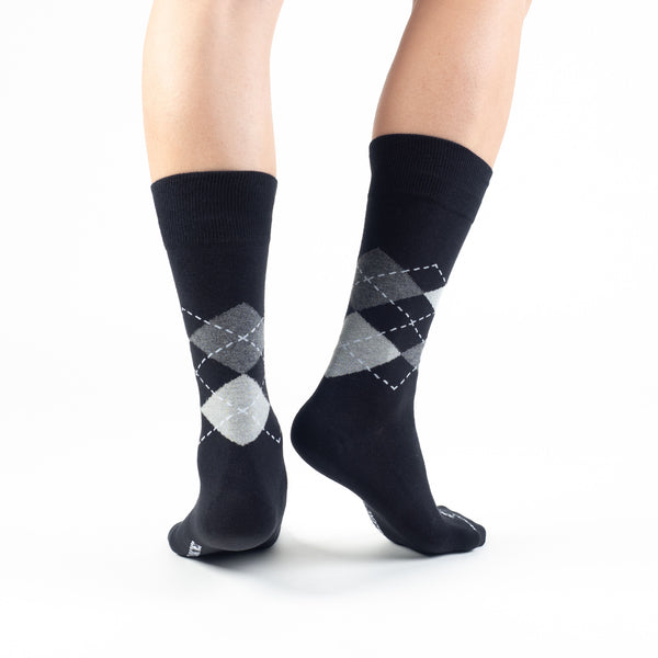 Black-Gray Argyle Basics - Talking Toes