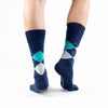 Aqua-Navy Argyle Basics - Talking Toes