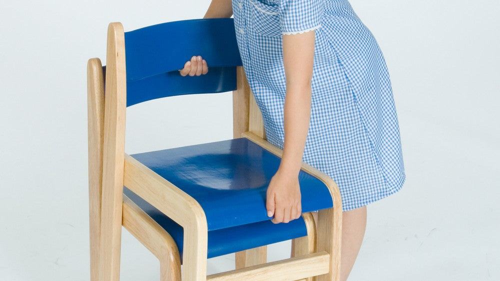 Wooden BLUE chair 350mm 2 pack - Toy Giant