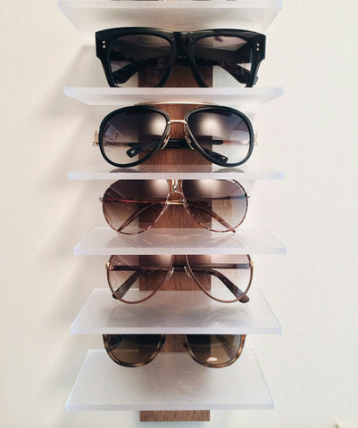 Wood and acrylic sunglasses holder