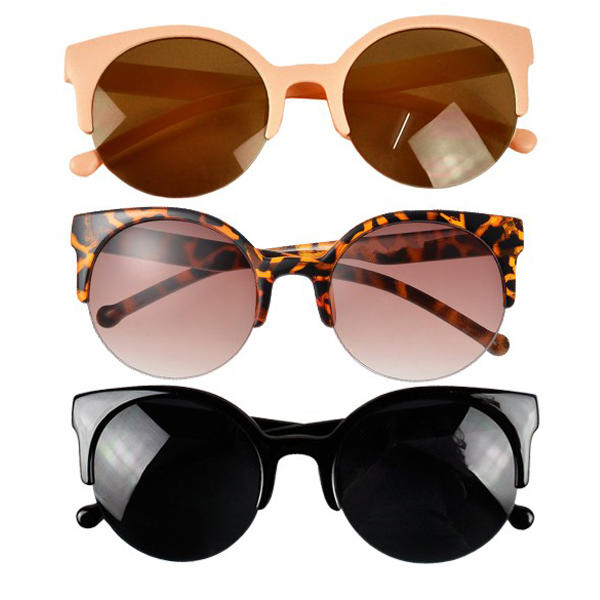 163f39ff2e Round Half Frame Cat Eye Sunglasses ...