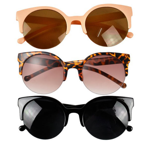 Round Half Frame Cat Eye Sunglasses