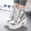 Chrome High Heels Ankle Boots