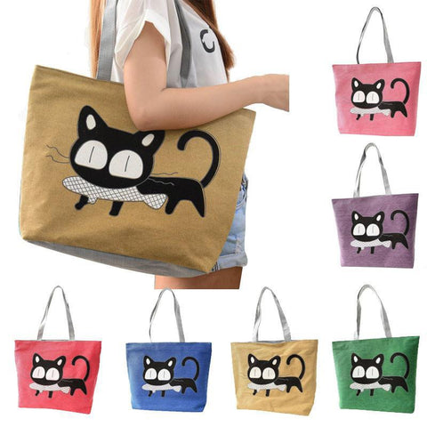 Cat With Fish In Mouth Tote Bag
