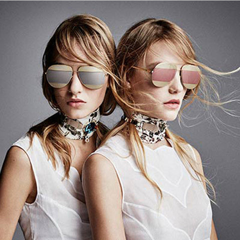 Metal-Patchwork Mirrored Sunglasses