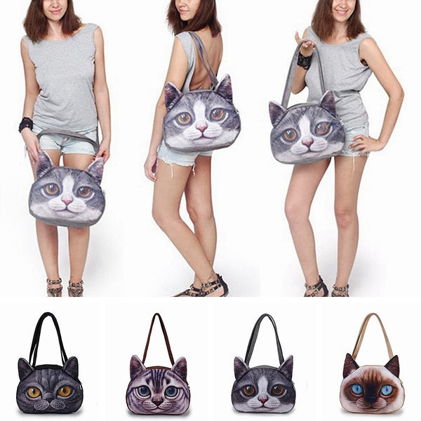 Funny Cat Face Shoulder Handbag