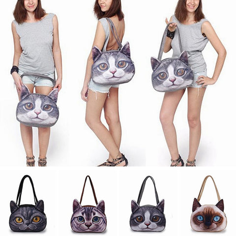 7acafe094cca Funny Cat Face Shoulder Handbag