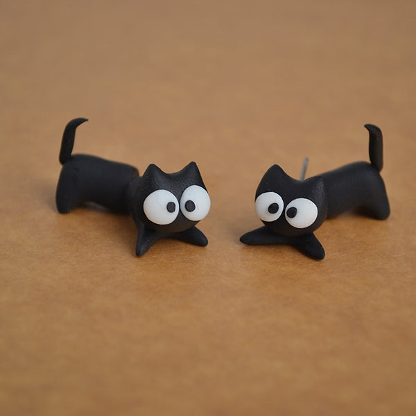 Through Ear Cat Earrings
