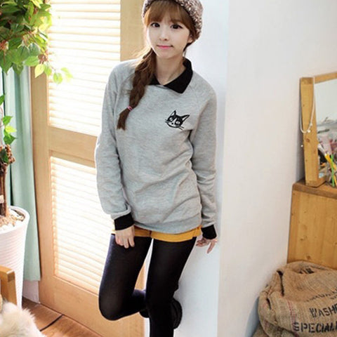 Cat Lapel Pullover Sweatshirt
