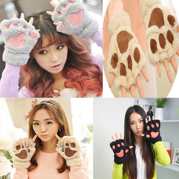 Paws Fingerless Winter Gloves