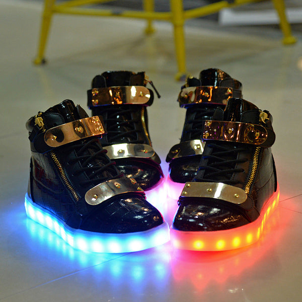 Glowing Black & Gold LED Shoes