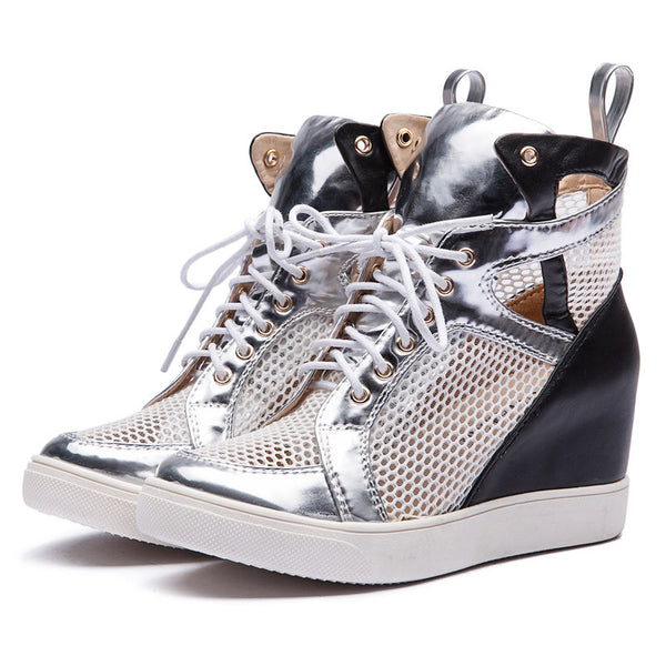 Chrome High Heel Sneakers