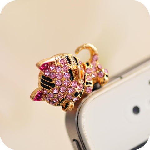 Sleepy Golden Diamond Cat Headphone Jack