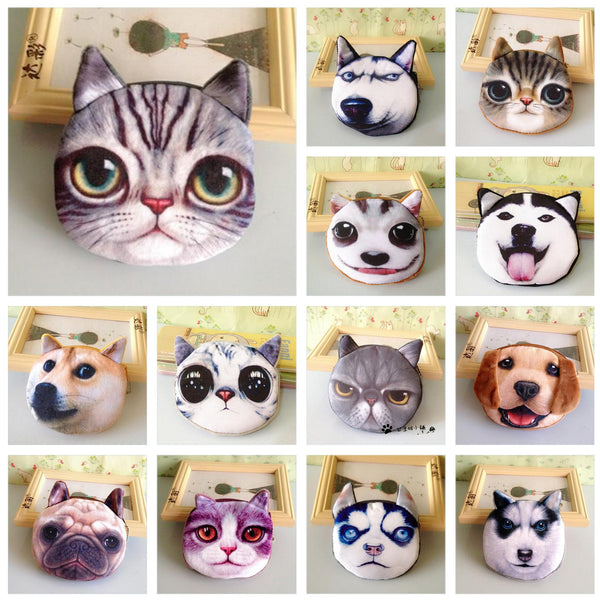 Funny Cats & Dogs Face Coin Purse