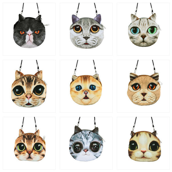 Funny Cat Small Shoulder Bag/Coin Purse