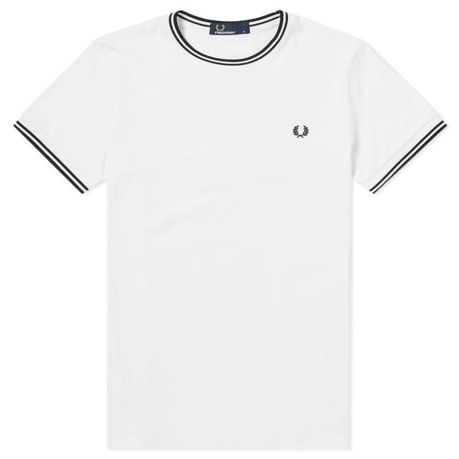 Fred Perry M1588 Twin Tipped Tee in Snow White