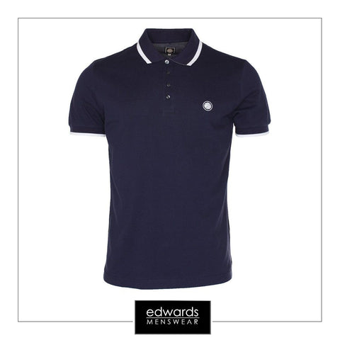 Pretty Green Multistripe Polo Shirt in Navy