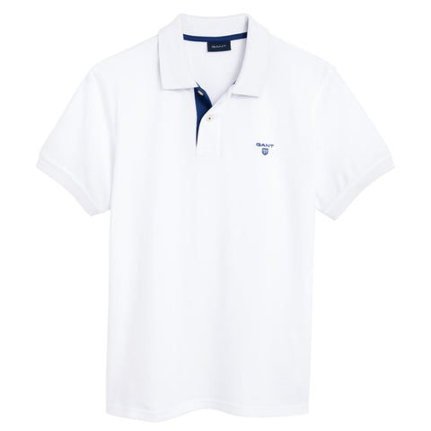 Gant Contrast Collar Pique Rugger Polo in White Polo Shirts Gant