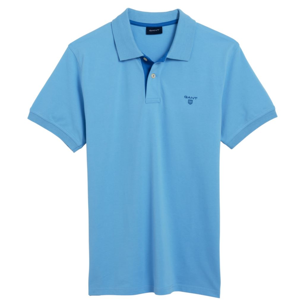 Gant The Contrast Collar Pique SS Rugger Pique Polo in Toy Blue Polo Shirts Gant