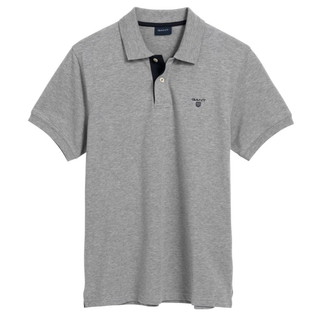 Gant The Contrast Collar Pique SS Rugger in Grey Melange Polo Shirts Gant