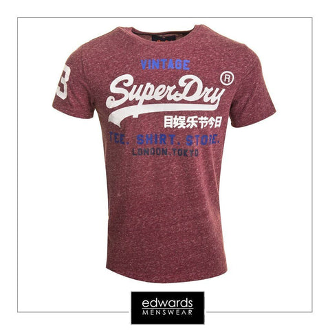 Mens Superdry Shirt Shop Tee in Ruby Wine Snow