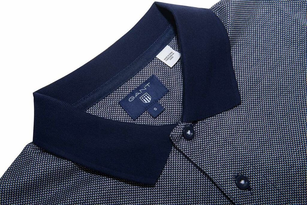 Gant Jacquard Pattern SS Rugger Polo Shirt in Shadow Blue
