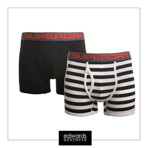 Mens Superdry Sport Boxer Stripe 2 Pack in Imperial Navy