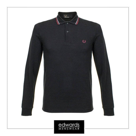 Fred Perry M3636-102 Long Sleeve Polo Shirt in Black