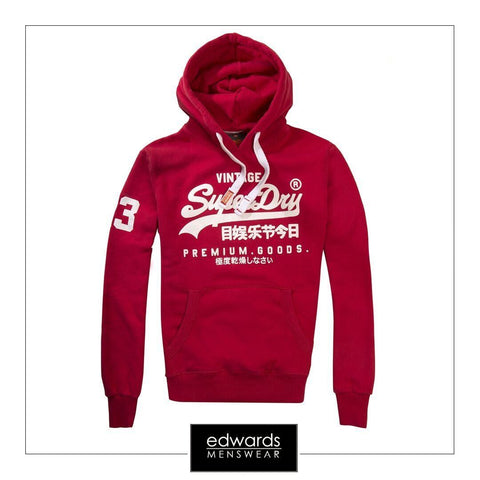 Mens Superdry Premium Goods Hood in Indiana Red