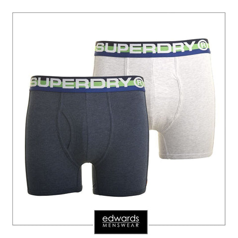 Mens Superdry Retro Sport Boxer 2-Pack in Navy/Grey