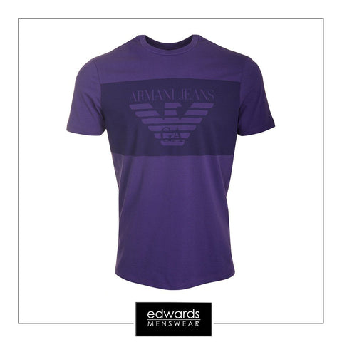 Armani Jeans Large Blocked Print T-Shirt in Violet