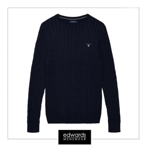 Gant Cotton Cable Crew Jumper in Evening Blue