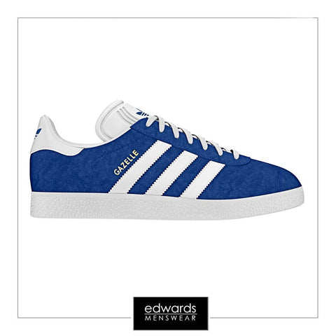 Adidas Gazelle S76227 Trainers in Blue/White/Gold