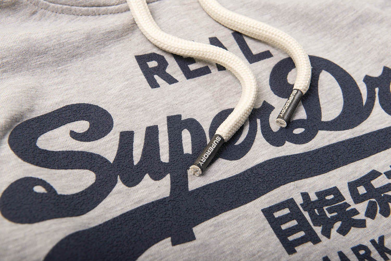 Superdry Vintage Logo Lite Weight Hood in Frontier Grey